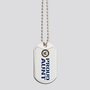 U.S. Navy: Proud Aunt (Blue & White) Dog Tags