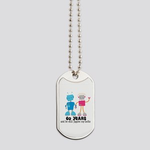 60 Year Anniversary Robot Couple Dog Tags