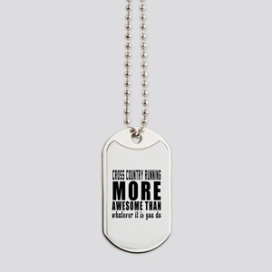 Cross Country Running More Awesome Design Dog Tags