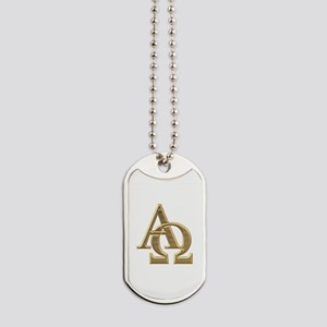 """""""3-D"""" Golden Alpha and Omega Symbol Dog Tags"""