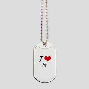 I Love Pop Dog Tags