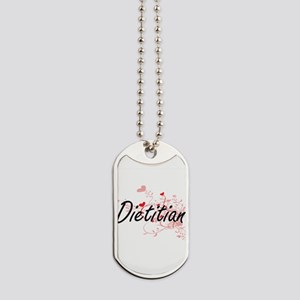 Dietitian Artistic Job Design with Hearts Dog Tags