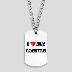 I Love My Lobster food design Dog Tags