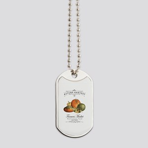 Modern vintage fall gourds and pumpkin Dog Tags