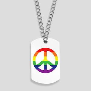 Big Rainbow Stripe Peace Sign Dog Tags