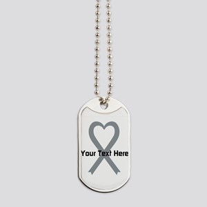 Personalized Gray Ribbon Heart Dog Tags