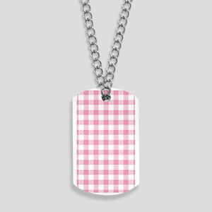 Pink Gingham Pattern Dog Tags