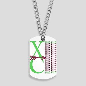 XC Run Green Purple Dog Tags