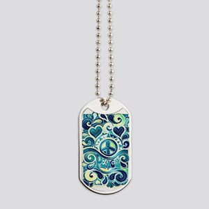 Colorful Hippie Art Dog Tags