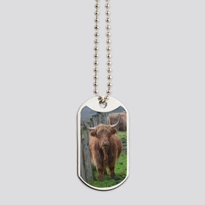 Highland Cow Standing by Highland Fence L Dog Tags