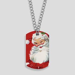 Vintage Christmas Jolly Santa Claus Dog Tags