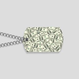 100 Dollar Bill Money Pattern Dog Tags