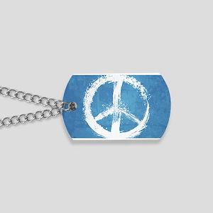 Grunge Peace Sign Dog Tags