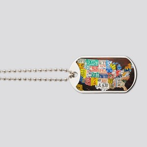 United States License Plate Map Dog Tags