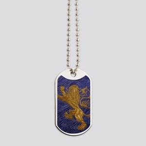 Rampant Lion - gold on blue Dog Tags