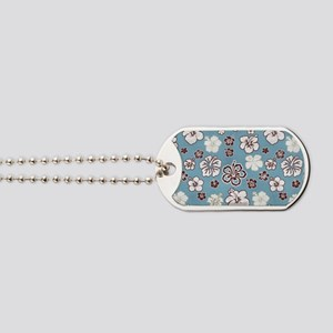 Tropical Hibiscus Carolina Blue Dog Tags
