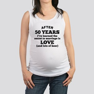 50 Years Of Love And Beer Maternity Tank Top
