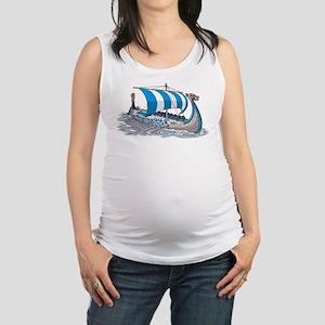 Blue Viking Ship Maternity Tank Top