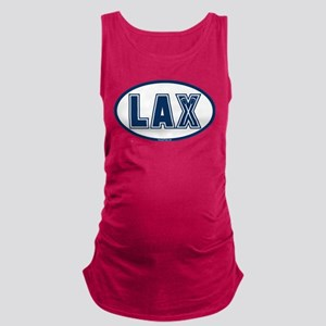 Lacrosse Oval LAX Blue Maternity Tank Top