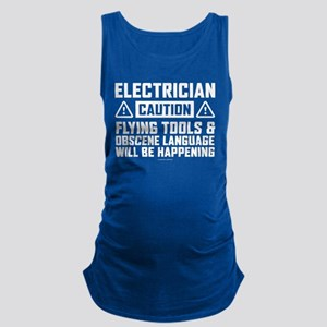 Caution Electrician Maternity Tank Top