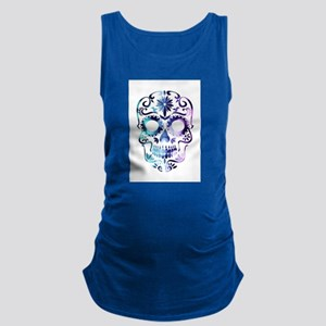 Blue & Purple Sugar Skull Maternity Tank Top