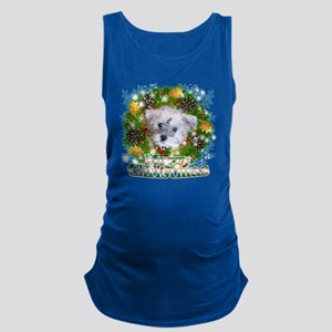 Merry Christmas Schnoodle Maternity Tank Top
