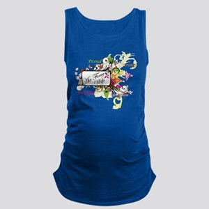 air force wife flowers mult Maternity Tank Top