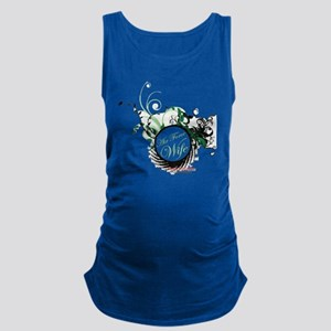 air force wife flowers green bl Maternity Tank Top