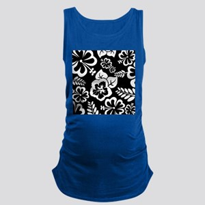 Black and white tropical flowers Maternity Tank To