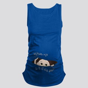 Funny Maternity Peeking Out Bab Maternity Tank Top
