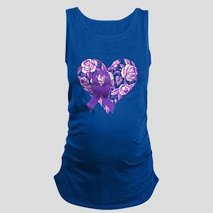 Purple Awareness Ribbon with Roses Maternity Tank