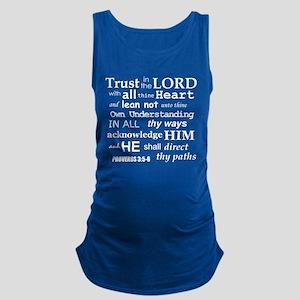 Proverbs 3:5-6 KJV White Print Maternity Tank Top