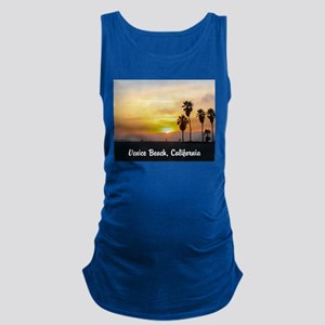 Beach Sunset with Palm Trees Maternity Tank Top