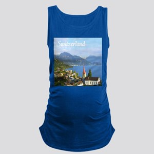 Switzerland view over lake Maternity Tank Top