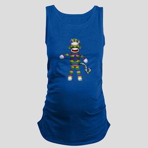 Mardi Gras Sock Monkey Maternity Tank Top