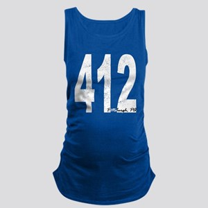 Distressed Pittsburgh 412 Maternity Tank Top