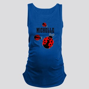 Cute Red | Black Ladybugs Name Maternity Tank Top