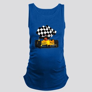 Yellow Race Car with Checkered Maternity Tank Top