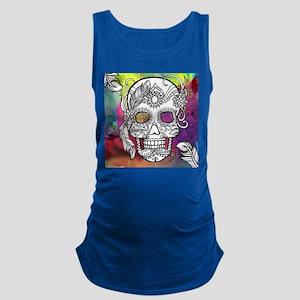 Sugar Skulls Color Splash Desig Maternity Tank Top