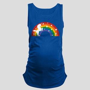 Retro Rainbow Unicorn Maternity Tank Top