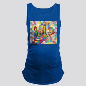 ASL I Love You with Bubble Background Tank Top