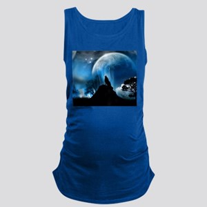 Wolf Howling At The Moon Maternity Tank Top