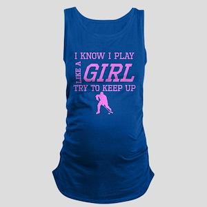 Hockey Like A Girl Maternity Tank Top