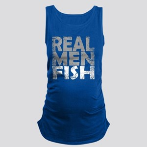 REAL MEN FISH WHITE Maternity Tank Top