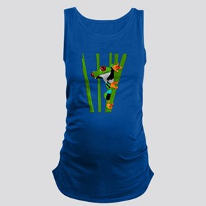 Cute frog on grass Maternity Tank Top