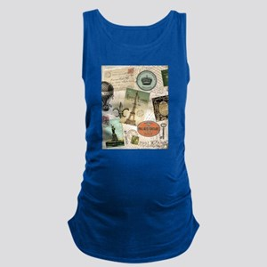 Vintage Travel collage Maternity Tank Top