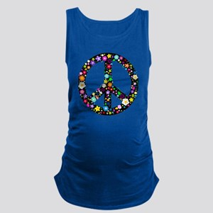 Hippie Flowery Peace Sign Maternity Tank Top