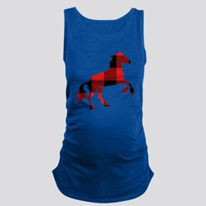 Red Plaid Horse Maternity Tank Top