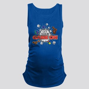 Get Your Game On - Black Maternity Tank Top