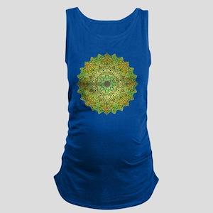 Green Gold Heart Chakra Mandala Maternity Tank Top